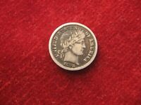 1898 P, BARBER DIME.  FINE? LIBERTY LETTERS VISIBLE.ATTRACTIVE TONING, USA