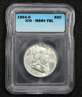 1953-D FRANKLIN HALF DOLLAR FULL BELL LINES ICG MINT STATE 64 1EXTRA FINE MN