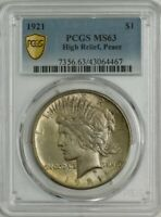1921 PEACE SILVER DOLLAR $ HIGH RELIEF MINT STATE 63 PCGS 944548-6