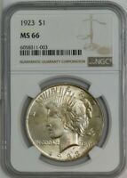 1923 PEACE SILVER DOLLAR $ MINT STATE 66 NGC 944704-2