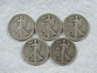 LOT OF 5 1917-1923 WALKING LIBERTY HALF DOLLARS IN A G-F CONDITION,  LOT 128