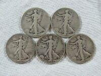 LOT OF 5 1935-1944 WALKING LIBERTY HALF DOLLARS IN A VG-F CONDITION,  LOT 129