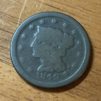 1849 BRAIDED HAIR EARLY US LARGE CENT 1C