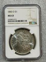 1883 O MORGAN SILVER DOLLAR NGC MINT STATE 63   COLOR  015