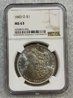 1883 O MORGAN SILVER DOLLAR NGC MINT STATE 63   BUTTERY LUSTER  036