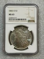 1883 O MORGAN SILVER DOLLAR NGC MINT STATE 63   BUTTERY LUSTER  017