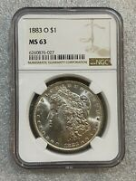1883 O MORGAN SILVER DOLLAR NGC MINT STATE 63   BUTTERY LUSTER  027