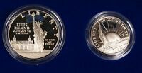 1986 STATUE OF LIBERTY PROOF 2 COIN SET W/ SILVER DOLLAR & HALF WITH BOX & COA