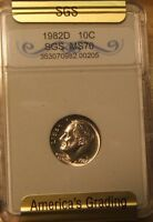 1982 D  SLABBED UNC   ROOSEVELT DIME   PERFECT COIN