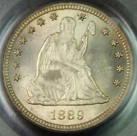 1889 SEATED LIBERTY SILVER QUARTER PCGS MS 64