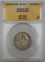 1918-S STANDING LIBERTY SILVER QUARTER, ANACS VF-30, DETAILS, SCRATCHED