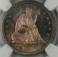 1883 SEATED LIBERTY QUARTER 25C NGC UNC DETAILS GEM BU TONED COIN