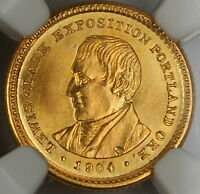 1904 LEWIS & CLARK COMMEMORATIVE $1 GOLD COIN, NGC UNC DETAILS OBVERSE CLEANED