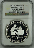 1982 TUNISIA SILVER 5 DINARS PROOF COIN NGC PF 68 UC YEAR OF THE CHILD
