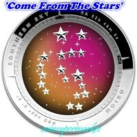 2014 AUSTRALIA SOUTHERN SKY ORION 1OZ SILVER PROOF COLORED DOMED COIN COA & BOX