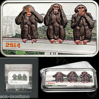 2014 TANZANIA THREE WISE MONKEYS 1 OZ SILVER COIN SEE HEAR SPEAK NO EVIL JAPAN