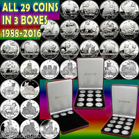 1988 2016 COMPLETE SET 29 ISLE OF MAN COPPER NICKEL CAT COINS IN  3  MINT BOXES