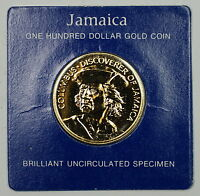 1975 FRANKLIN MINT JAMAICA $100 DOLLAR UNCIRCULATED UNC GOLD COIN