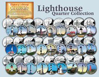 HISTORIC AMERICAN  LIGHTHOUSES  COLORIZED US STATEHOOD QUARTERS 27 COIN FULL SET