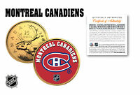MONTREAL CANADIENS NHL HOCKEY 24K GOLD PLATED CANADIAN QUARTER COIN   LICENSED