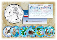 2009 DC & US TERRITORIES QUARTERS COLORIZED   6 COIN SET   STATEHOOD W/CAPSULES