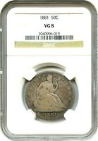 1881 50C NGC VG 8   LOW MINTAGE DATE   LIBERTY SEATED HALF DOLLAR