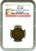 1872 2C NGC VG-10 BN - KEY DATE CIRCULATION STRIKE - 2-CENT PIECE