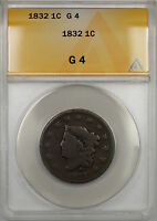 1832 CORONET HEAD LARGE CENT 1C COIN ANACS G-4  PRX