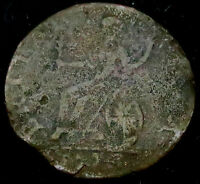 M737: 1774 GEORGE III NON REGAL COPPER FARTHING: DIE AXIS WAY OUT AT 345 DEGREES