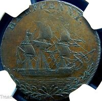 NGC AU55 CERTIFIED 1790'S GREAT BRITAIN SAILING SHIP HALFPENNY NG21A