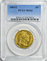 1803/2 DRAPED BUST $5 PCGS MS 62