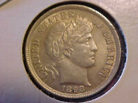 1898 BARBER DIME   ABOUT UNCIRCULATED   SPIKED CHIN ERROR
