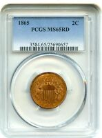 1865 2C PCGS MINT STATE 65 RD - POPULAR TYPE COIN - 2-CENT PIECE - POPULAR TYPE COIN