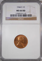 1944S  MS66 RED RD.NGC LINCOLN WHEAT EAR PENNY ONE CENT COIN  196