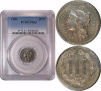 1880 THREE CENT NICKEL  PCGS PR 63      LOW MINTAGE OF ONLY 3,955     PQ