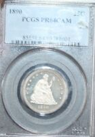 1890 PROOF SEATED LIBERTY QUARTER PF64 CAMEO