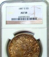 1887-S MORGAN   NGC AU58  R DATE W/ EXCEPTIONAL COLOR & LOOKS MINT STATE