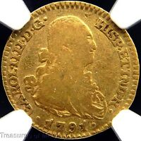 NGC F15 CERTIFIED!  1791 SPANISH GOLD 1 ESCUDO DOUBLOON!