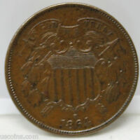 1864 P TWO CENT PIECE AU BRONZE COIN - LARGE MOTTO - 01228947S