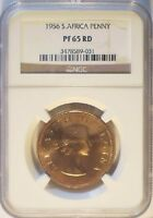 SOUTH AFRICA 1956 ONE PENNY  PROOF 1700 MINTAGE NGC PF65 RED