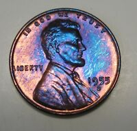 AMAZING ELECTRIC BLUE TONED 1955 D GEM BU LINCOLN WHEAT CENT FROM OLD COLLECTION