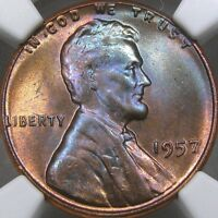 1957 1C NGC MS66RB LINCOLN CENT   GORGEOUS RAINBOW OBVERSE