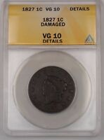 1827 US CORONET HEAD LARGE CENT 1C COIN ANACS VG-10 DETAILS DAMAGED