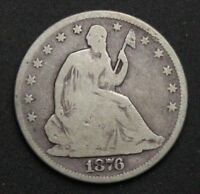 1876 SEATED LIBERTY SILVER HALF DOLLAR OLD US SILVER COINS E173