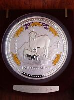 PERTH MINT $30 LUNAR 2003 GOAT RAM DIAMOND EYES 999 SILVER KILO KG SERIES 1