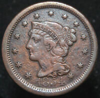 1854 LARGE CENT NICE COIN XF DETAILS D 1616 FREE MULT SHIPPING