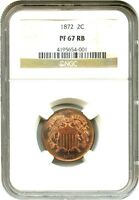1872 2C NGC PR 67 RB - PRETTY COLORFUL TONING - 2-CENT PIECE
