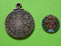 GEORGE 111 STERLING SILVER SHILLING 1787 PENDANT & ENAMEL THREEPENCE 1887