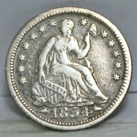 1854 P SEATED LIBERTY HALF DIME   F WITH ARROWS 01260008S