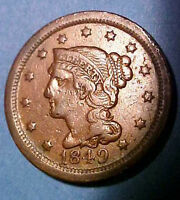 1849 LARGE CENT  BRAIDED HAIR  SHARP CIRCULATED  WALNUT COLOR MAKE AN OFFER